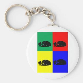 Pop Art Tabby Cat Basic Round Button Keychain