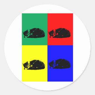 Pop Art Tabby Cat Classic Round Sticker