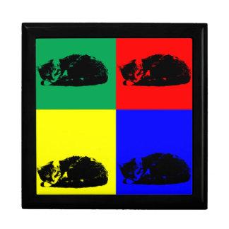 Pop Art Tabby Cat giftbox Keepsake Box