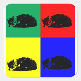 Pop Art Tabby Cat Square Sticker