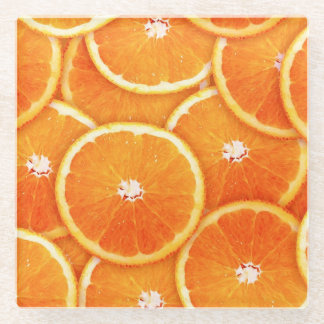 Pop Art Tangerine Slices Glass Coaster