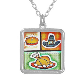 Pop Art Thanksgiving Dinner Silver Plated Necklace