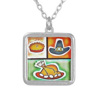 Pop Art Thanksgiving Dinner Square Pendant Necklace