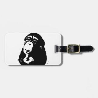 Pop Art Thinking Chimpanzee Bag Tag