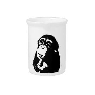 Pop Art Thinking Chimpanzee Drink Pitcher