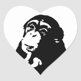 Pop Art Thinking Chimpanzee Heart Sticker