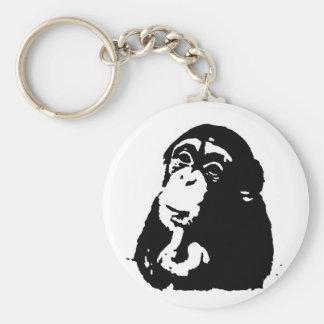 Pop Art Thinking Chimpanzee Keychain