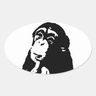 Pop Art Thinking Chimpanzee Oval Sticker
