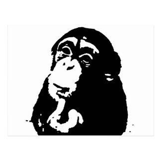 Pop Art Thinking Chimpanzee Postcard