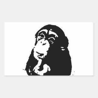 Pop Art Thinking Chimpanzee Rectangular Sticker