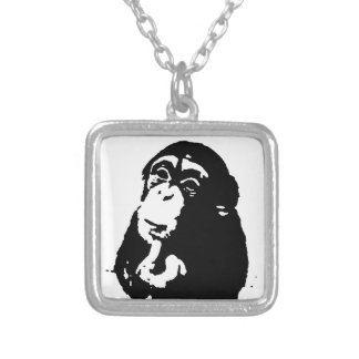 Pop Art Thinking Chimpanzee Silver Plated Necklace