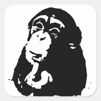Pop Art Thinking Chimpanzee Square Sticker