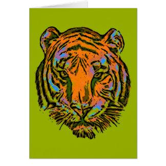 Pop Art TIGER HEAD + your backgr. & ideas Card