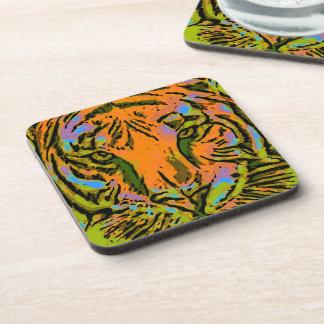 Pop Art TIGER HEAD + your backgr. & ideas Coaster
