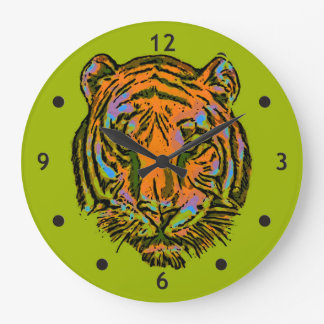 Pop Art TIGER HEAD + your backgr. & ideas Large Clock