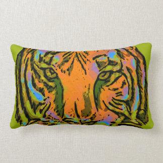 Pop Art TIGER HEAD + your backgr. & ideas Lumbar Pillow