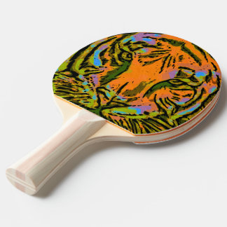 Pop Art TIGER HEAD + your backgr. & ideas Ping-Pong Paddle