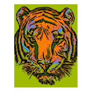 Pop Art TIGER HEAD + your backgr. & ideas Postcard