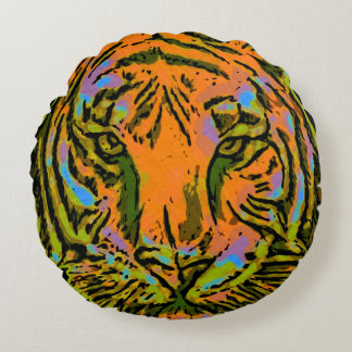 Pop Art TIGER HEAD + your backgr. & ideas Round Pillow