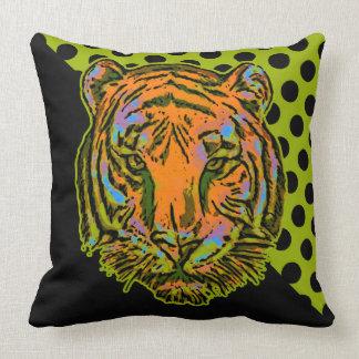 Pop Art TIGER HEAD + your backgr. & ideas Throw Pillow