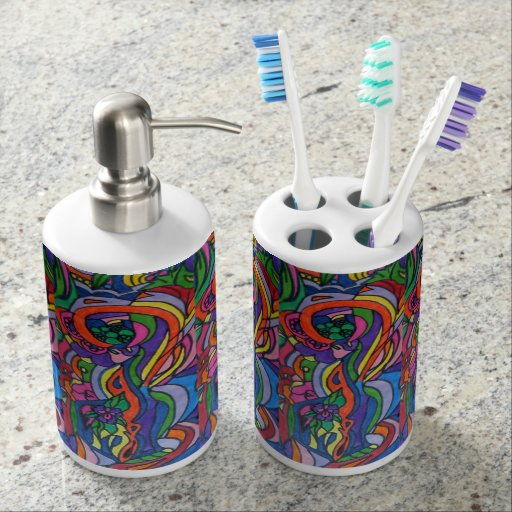 Pop Art Toothbrush Holder and Soap Dispenser