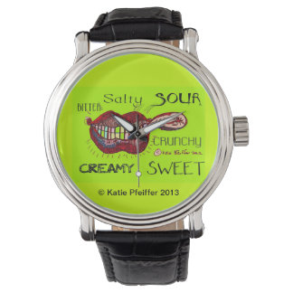 Pop Art Umami Taste Lips by Katie Pfeiffer Wrist Watches