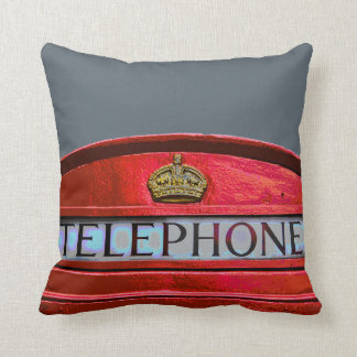 Pop Art Vintage London City Red Telephone Booth Throw Pillow