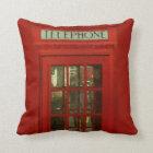 Pop Art Vintage London City Red Telephone Box Throw Pillow