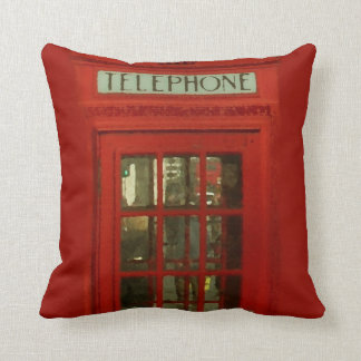 Pop Art Vintage London City Red Telephone Box Throw Pillow