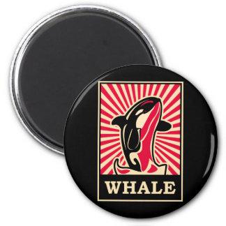 Pop Art Whale 2 Inch Round Magnet