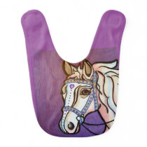 Pop Art White Horse Baby Bib