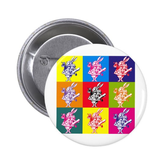 Pop Art White Rabbit Button