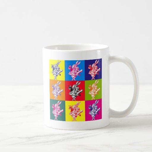 Pop Art White Rabbit Coffee Mug