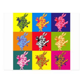 Pop Art White Rabbit Full Colour Postcard