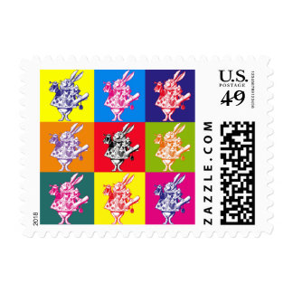 Pop Art White Rabbit Stamp