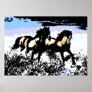 Pop Art Wild Horses Motivational Freedom Artwork Poster
