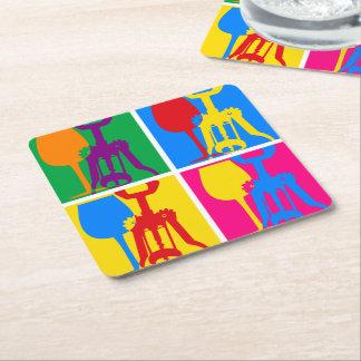 Pop Art Wine Square Paper Coaster