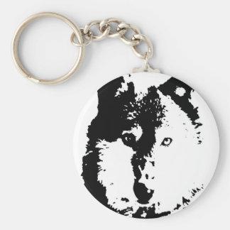 Pop Art Wolf Basic Round Button Keychain