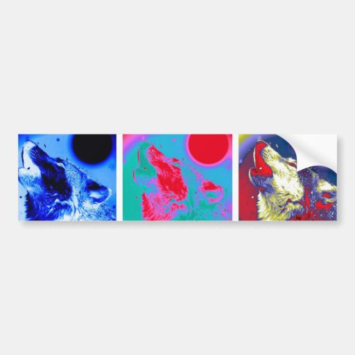 Pop Art Wolf Bumper Sticker