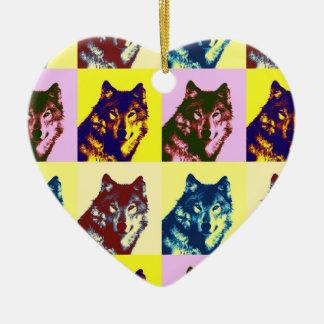 Pop Art Wolf Ceramic Ornament