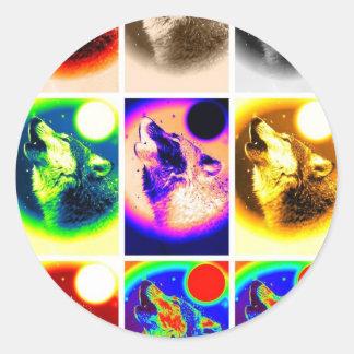 Pop Art Wolf Classic Round Sticker