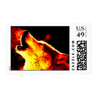 Pop Art Wolf Howling at Red Night Postage