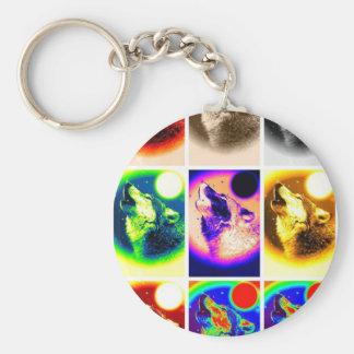 Pop Art Wolf Keychain