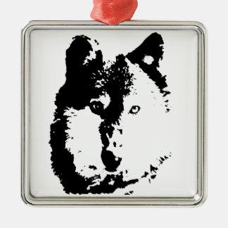 Pop Art Wolf Metal Ornament