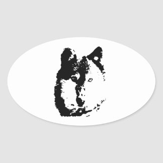 Pop Art Wolf Oval Sticker