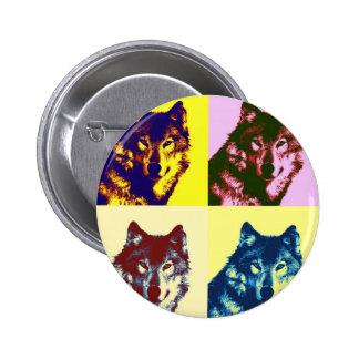 Pop Art Wolf Pinback Button