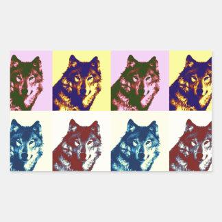 Pop Art Wolf Rectangular Stickers