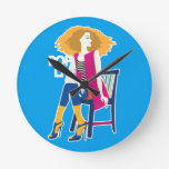 Pop art woman pink cool fashion silhouette round clock