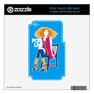 Pop art woman pink cool fashion silhouette skins for iPod touch 4G