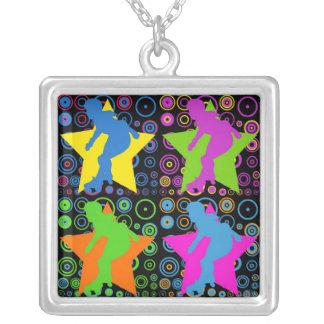 Pop Art Women's Roller Derby Silver Plated Necklace